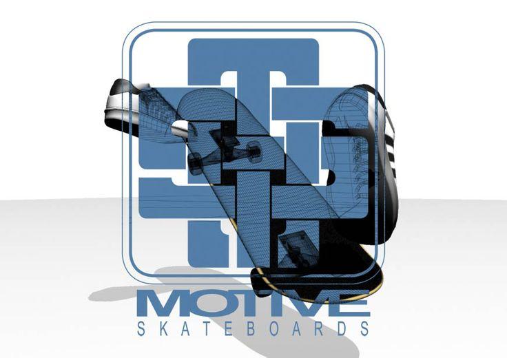3D rendered design for Motive Skateboards.