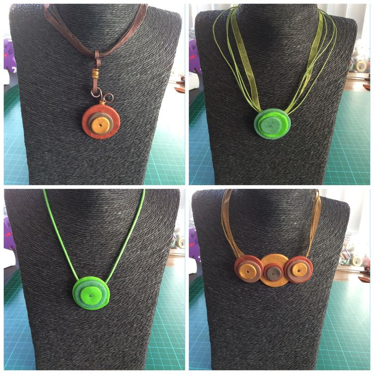 Necklaces round, Fimo, polymere clay, aluwire, Jewelry