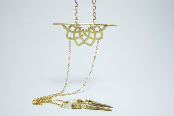 Kayla brass necklace-Mandala necklace-Sacred geometry by BOHOREINA