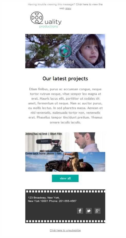 ¿Tu trabajo gira en tormo a la producción de spots publicitarios, vídeos corporativos o cortos? Utiliza esta plantilla versión responsive y empieza a hacer campañas de mailing.