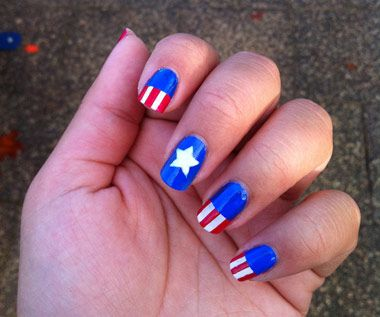 170 best acrylic nail designs images on pinterest nail art hello kitty superhero captain america boom boom pow black and yellow batman manicure in a half shell avengers nail art make some noise matched up prinsesfo Gallery