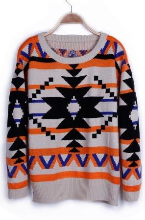Orange Geometric Tribal Pattern Sweater