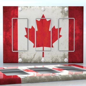 DIY Do It Yourself Home Decor - Easy to apply wall plate wraps   Grunge Canadian Flag  Old Canadian flag pattern  wallplate skin sticker for 3 Gang Decora LightSwitch   On SALE now only $5.95