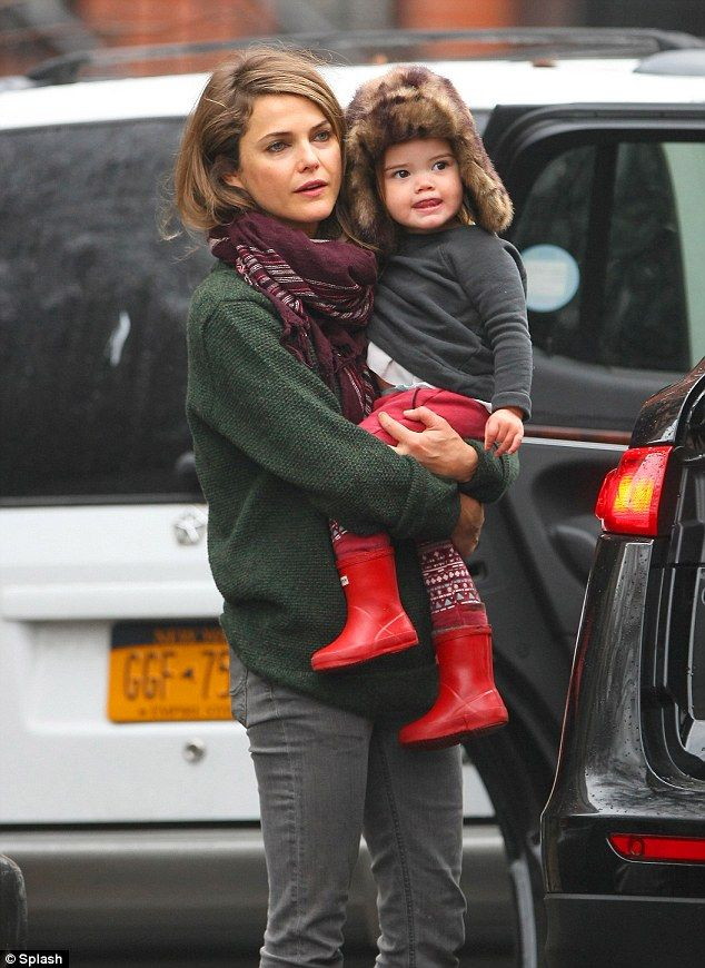 School time: Keri Russell along with her husband Shane Deary, were spotted leaving their Brooklyn home on Thursday morning to take their kid...