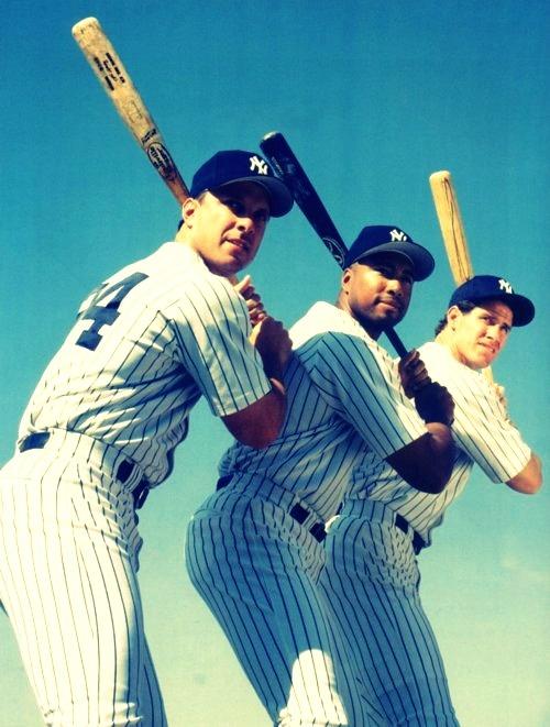 #24 Tino Martinez, #51 Bernie Williams, and #21 Paul O'Neill