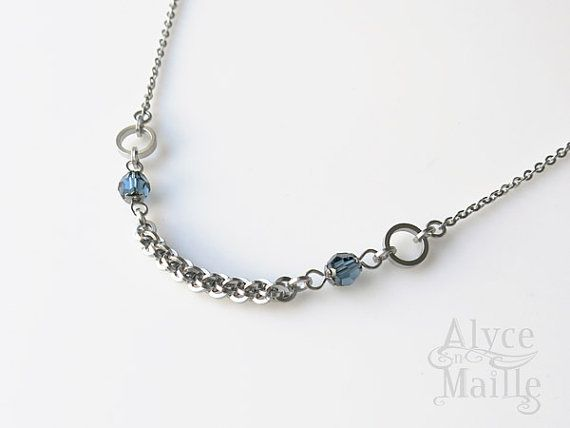As seen on #JaneTheVirgin - Alyce n Maille Blue Crystal Chainmaille Necklace Original Design by @AlycenMaille - Thanks to The Artisan Group, this was gifted to the stylist of a Jane The Virgin! #handcrafted #StainlessSteel #necklace #jewelry #fashion #unique #stylish #CrystalNecklace #AsSeenOnTV #WornOnTV