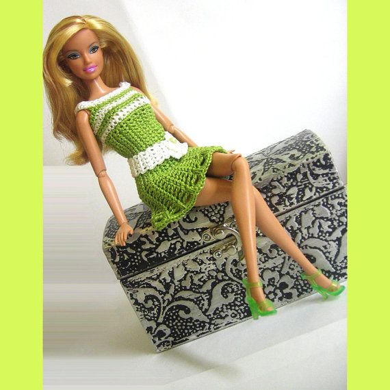 Barbie clothes crocheted in green stripes with by KikamoraCrafts, $11.99