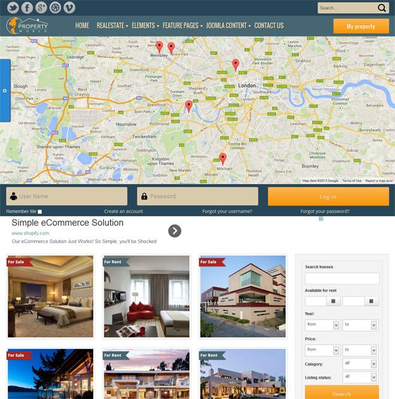 This Joomla real estate template comes with a Google Map for displaying properties, a search box, a responsive layout, a Bootstrap framework, buy and rent request forms, property status labels, reviews with Captcha, Google Fonts, a contact form, social sharing, and more.