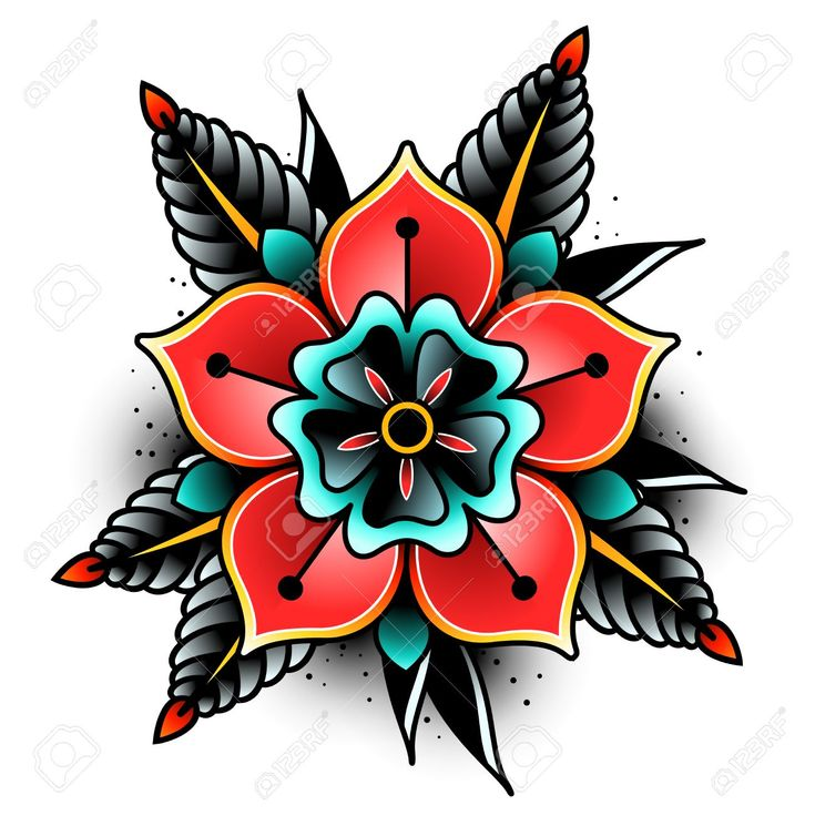 Old School Tattoo Art Flowers For Design And Decoration. Old.. Royalty Free Clip…