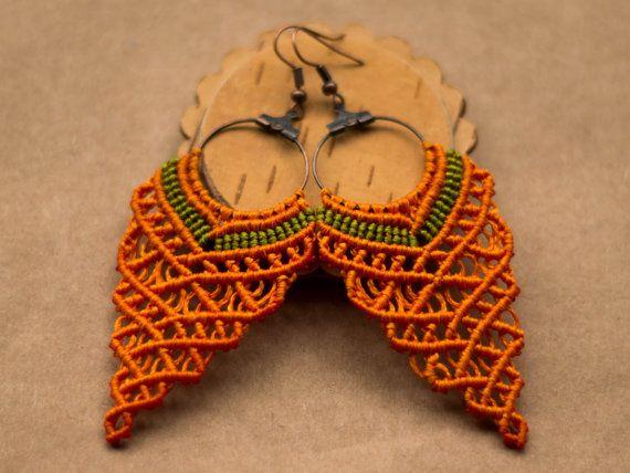 Boucles d'oreilles orange macramé forme raisin par paprikaGoodies