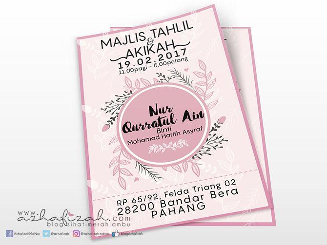 Design Kad Jemputan Majlis Tahlil Dan Akikah Design Blog Words