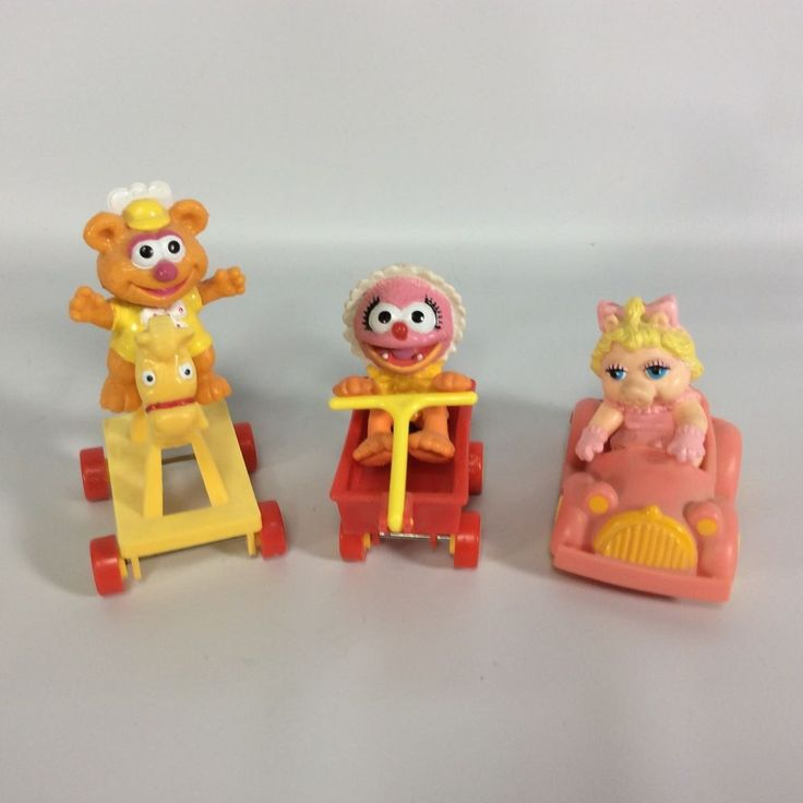 Muppet Babies 1986 McDonalds Happy Meal Toys Set of 3 Miss Piggy Animal Fozzie #Muppets