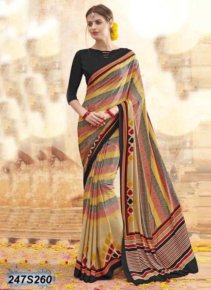 Breezy Malti Coloured Crepe Printed Saree