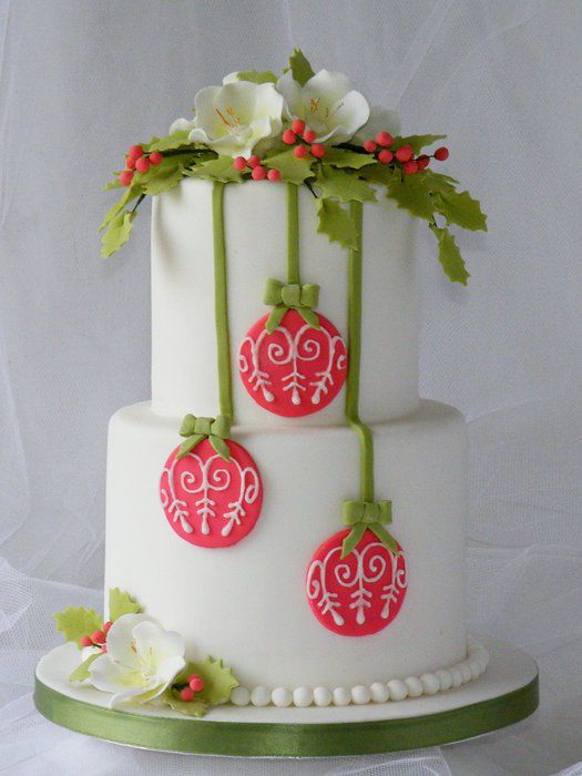 Red Baubles Christmas Cake with sugar Christmas roses and holly