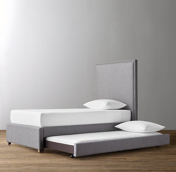 Sydney Upholstered Bed with Trundle. Comes in a full size for Nicky's room.