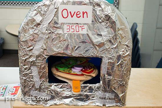 Dramatic play pizza shop oven