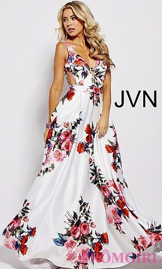 524388282b Shop long white a-line floral-print prom dresses with side cut outs at  PromGirl. Long Jovani sleeveless v-neck prom dresses with open v-backs and  floral ...