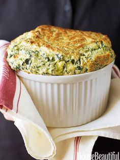 Ina Garten's Spinach and Cheddar Souffle...I can not wait to make this!!                                                                                                                                                      More