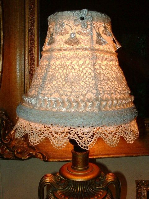 Lovely Vintage Lace Lampshade  Handmade OOAK Cottage Charm  Shabby Chic  Romantic Victorian