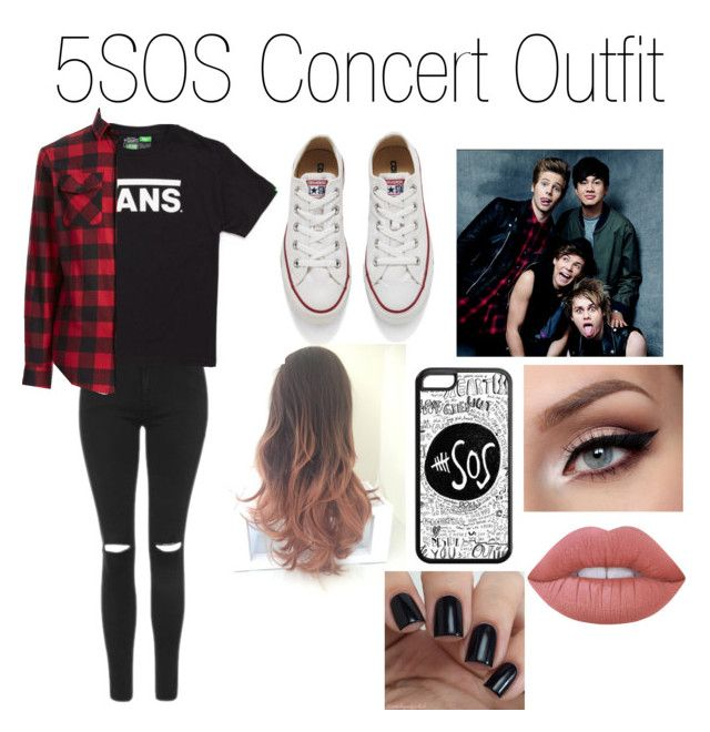 """""""5SOS Concert Outfit"""" by chelsrdguez on Polyvore featuring Topshop, Vans, Original Penguin, Converse and Lime Crime"""