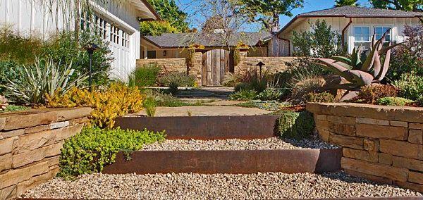 vorgarten gestaltung beispiele hauseingang weg kies steinpflanzen