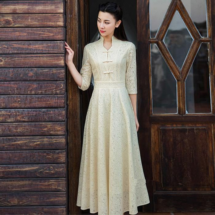 Lace Dress 2016 New Women's Fashion Lace Chiffon V-neck Half Sleeve Middle Rise Slim Causal Vintage Dress Online with $71.18/Piece on Orientaladmis's Store | DHgate.com