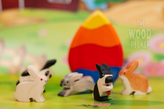 Wooden Toy Bunny Rabbit Set Eco-friendly by TheWoodPeckerFactory