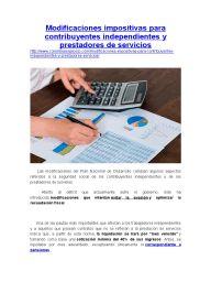 Modificaciones Impositivas Para Contribuyentes Independientes y Prestadores de Servicios