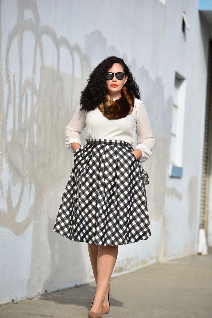 Plaid Midi Skirt, Faux Fur Snood