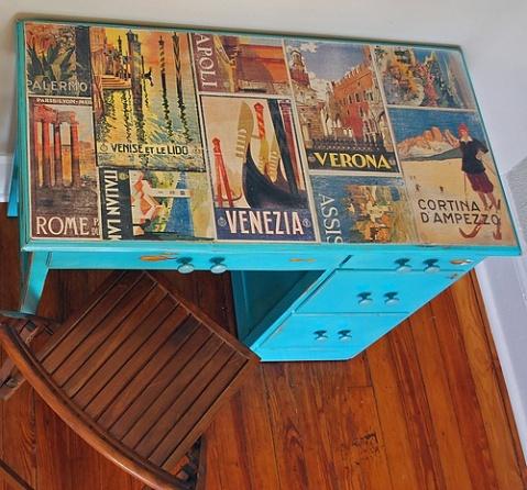 Funky decoupage desk top.  http://simplyrooms.wordpress.com/tag/distressing-furniture/#  508_restoration_and_design_desk