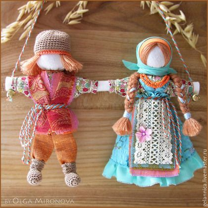 Народные куклы ручной работы. Ярмарка Мастеров - ручная работа. Купить Неразлучники. Handmade. Разноцветный, подарок на свадьбу, оберег для семьи
