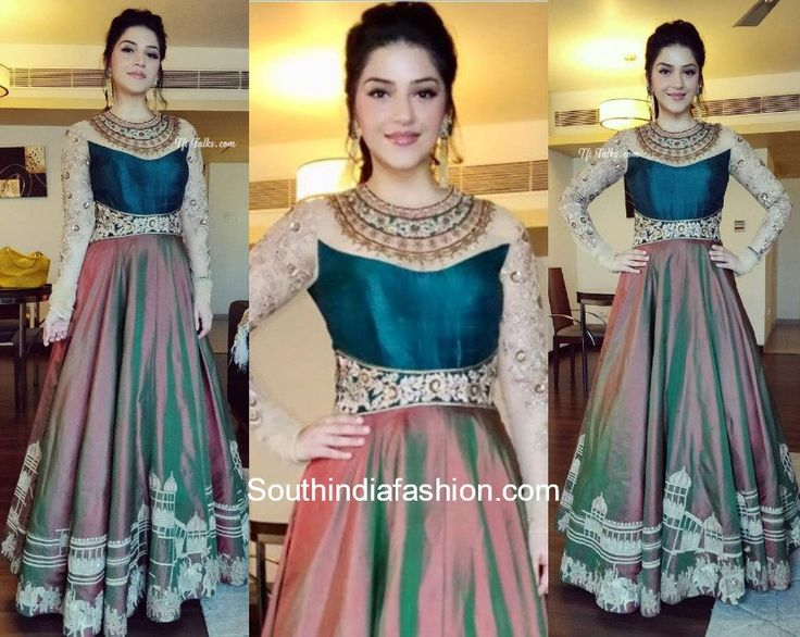 Mehreen Pirzada in AVDI   For a recent college event actress Mehreen Pirzada dolled up in an anarkali gown by AVDI Label. The magenta shaded anarkali was enhanced with an indigo blue yoke and beige sleeves. Heavy gold detailing gave a very dressy look to the outfit.  For the accessories the actress went for earrings by Medoso. Mauve lips and high pouf hair-do rounded out her traditional look.  The post Mehreen Pirzada in AVDI appeared first on South India Fashion.  from South India Fashion…