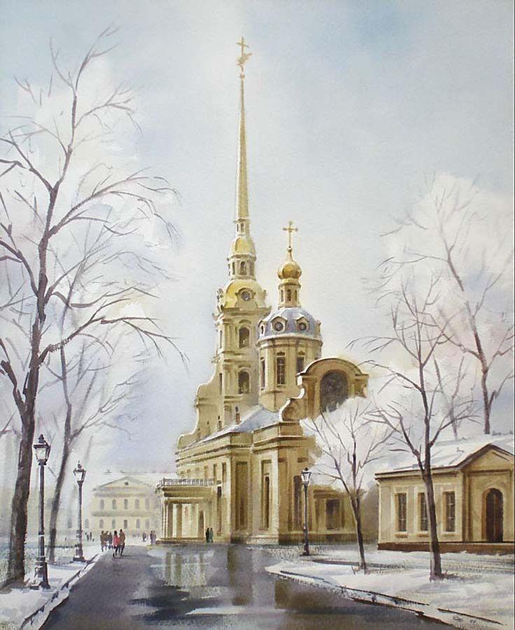 0060 Петропавловский собор. Бумага, акварель, 50х40 2009. Частная коллекция