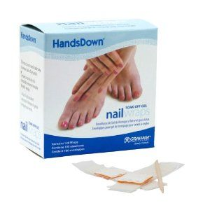 HandsDown Gel Nail Wraps by Graham. $15.41. Soak off in 10 minutes. Comes with 100 wraps. Ideal for removing uv nail gels. A must have for every home and salon. Easy to use. These soak off gel wraps are essential in the removal of UV nail gels. Wrap them around the nail once they're soaked in acetone and leave them on for 10 minutes. Once removed, use Birchwood sticks to help push off the excess gel from the nail. If its not Graham Professional its not the best!. Save 50% Off!
