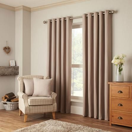 Dunelm Kendall Textured Natural Brown Cotton Lined Eyelet Curtains (168cm x 182cm)
