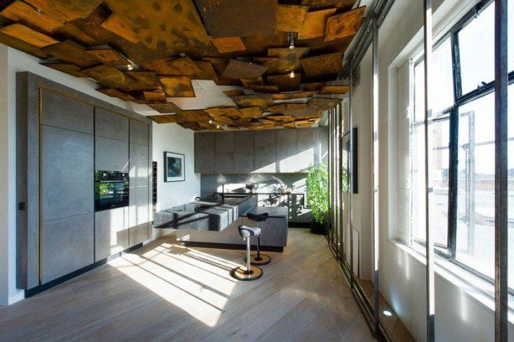 faux plafond design pour la cuisine avec électroménager encastrable                                                                                                                                                                                 Plus