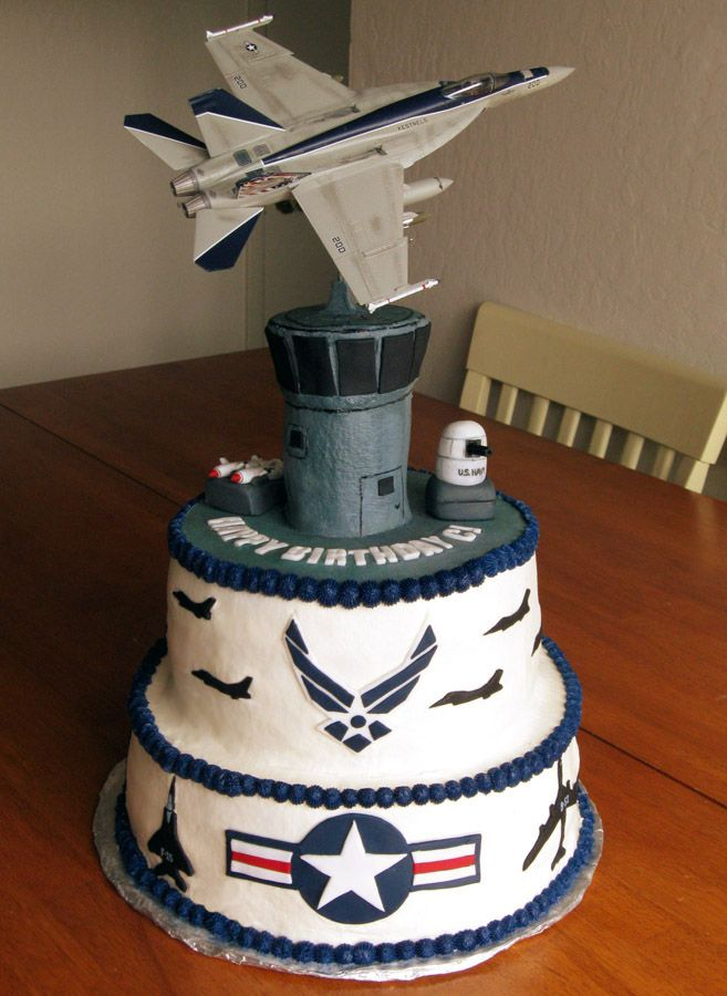 US Air Force/Navy  Cake - This is a cake I made for my son's 17th birthday. He is really into the military and air force planes. The bottom tier is a dark fudge chocolate cake with irish cream fudge filling. The second tier is strawberry wasc cake with strawberry filling. The tower is a Irish cream pound cake. This is all BC . The gun and missiles are fondant as are the plane silhouttes and roundels. The F18 on top is an actual plastic model. The wire is drilled into a dowel rod. TFL.