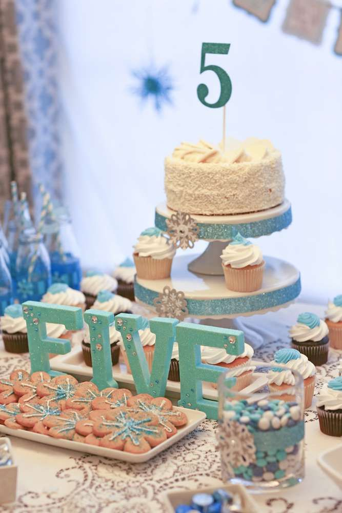 Gorgeous dessert tables at a Frozen birthday party! See more party planning ideas at CatchMyParty.com!