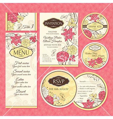 Set of wedding cards vector by SelenaMay on VectorStock®