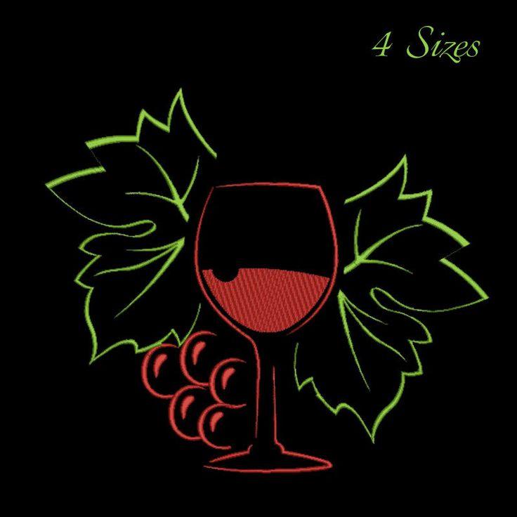 Wine machine embroidery design,wine glass design,digital download, pattern,kitchen,mom,grape by GretaembroideryShop on Etsy