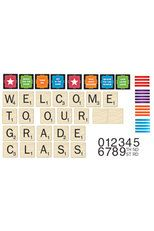 Eureka, Scrabble Welcome To Our Class Mini Bulletin Board Set, 63 Pieces