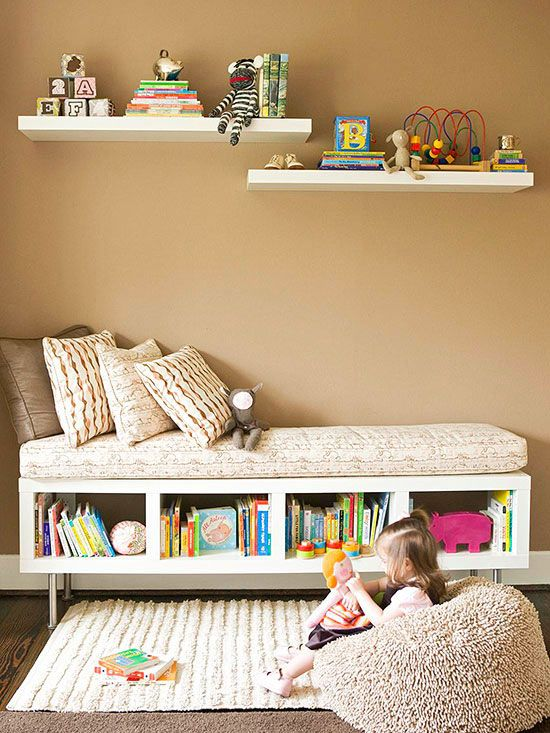 Turning shelves into a bench to sit/lay on !!