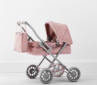 Pink Glitter Mini Pram Doll Stroller Dolls Prams