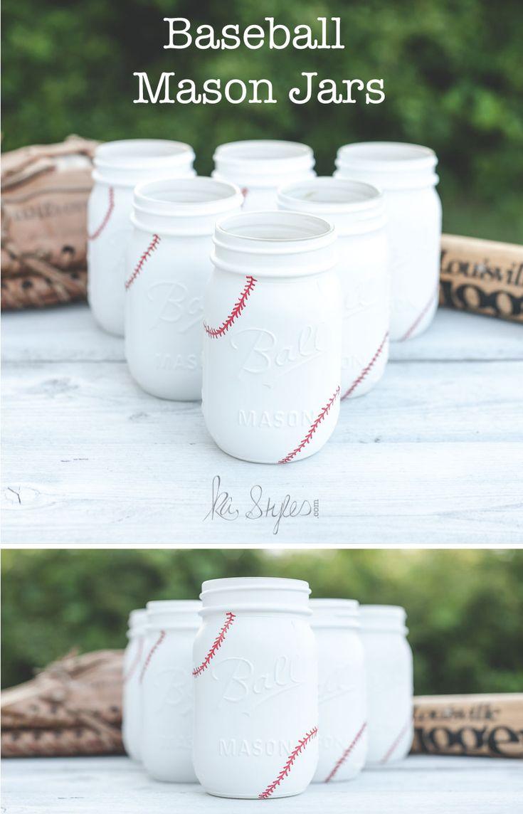 I had a customer see this old baseball painted mason jar post and wanted baseball jars for their baseball themed wedding. I bet their wedding will be so fu