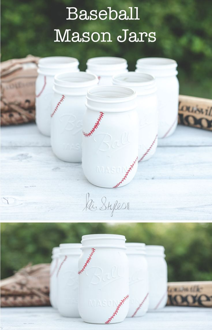 I had a customer see this old baseball painted mason jar post and wanted baseball jars for their baseball themed wedding. I bet their wedding will be so fu