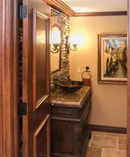tuscan bathroom colors a wall vessel sink and gorgeous granite make this 14839
