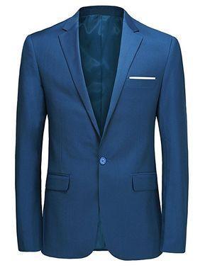 387a0f89f0e Mens Slim Fit Casual One Button Blazer Jacket Pure Colors