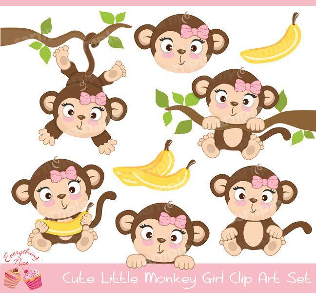 Cute Little Monkey Girl Clipart Set Desenhos Para