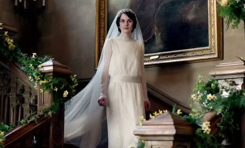 Mary Crawley's Wedding Dress from Season 4 Downton Abbey - inspired by the Queen Mothers Wedding Gown
