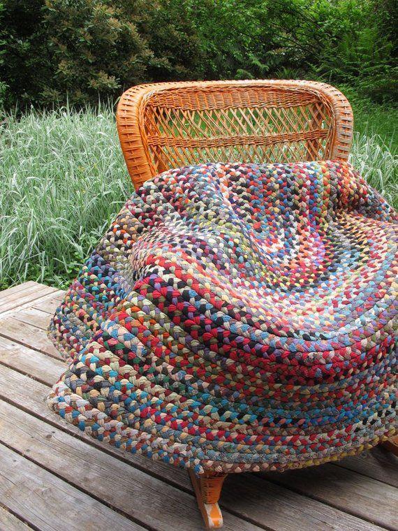 Braided Multi Color Rag Rug Cotton Area Rug Multi Colored Rug Colourful Vintage Large Oval Braided Area Rug Han Colorful Rugs Braided Area Rugs Cotton Area Rug